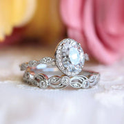 Bridal Set Ring Oval Halo Engagement Ring w Leaf & Vine Vintage Wedding Ring