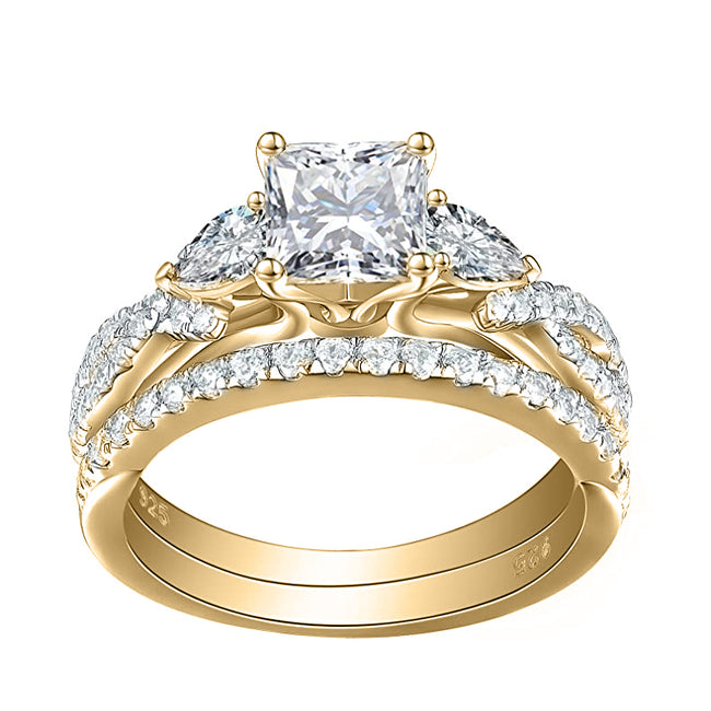 1.7ct Princess Pear White AAA Cz 925 Sterling Silver Engagement Wedding Ring Set
