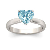 Customize Solitaire Heart Cut Sterling Silver Promise Ring BFL