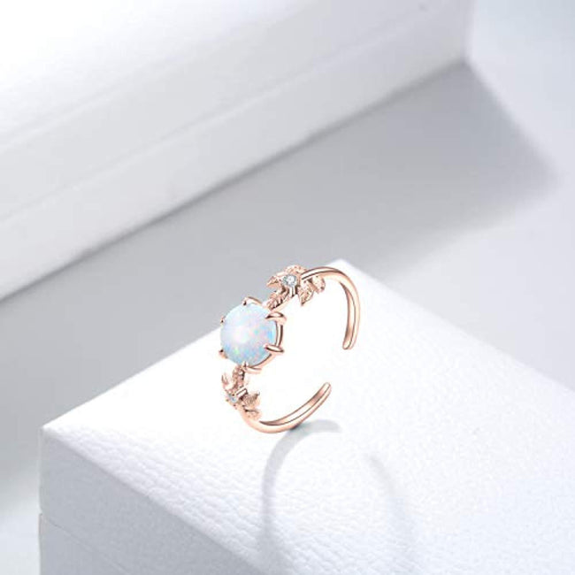 Sterling Silver Adjustable Created Opal Rings Christmas Jewelry Gifts for Women