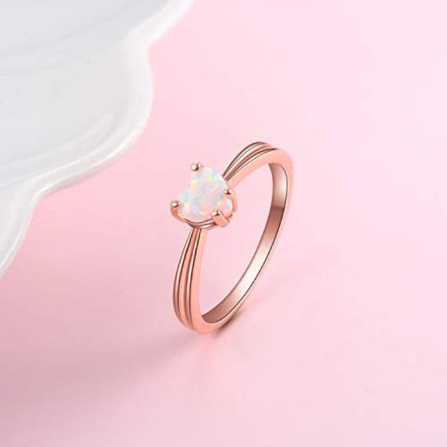 Heart Rings for Women Sterling Silver, Simulated Opal Ring Rose Gold, Promise Rings for Her, Size 8