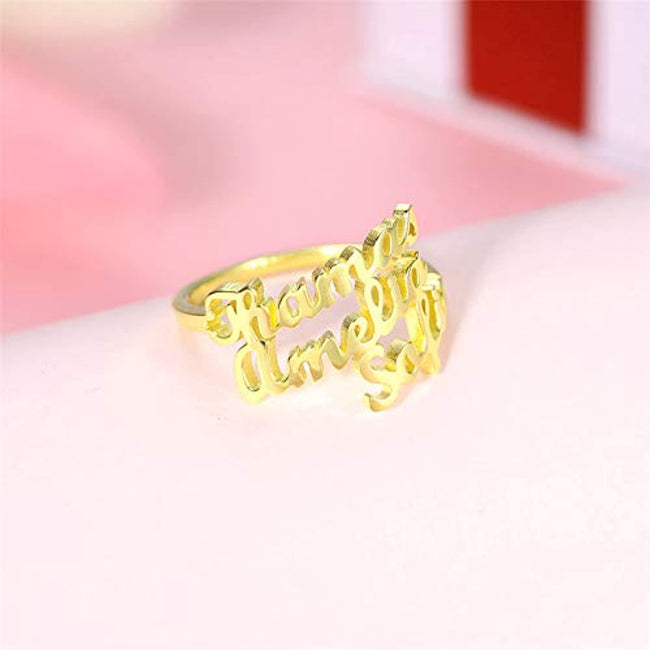Personalized Name Rings Engrave Name Plate Stacking Ring Customize One, Two, Three, Four Names Promise Ring for Women Girls Men