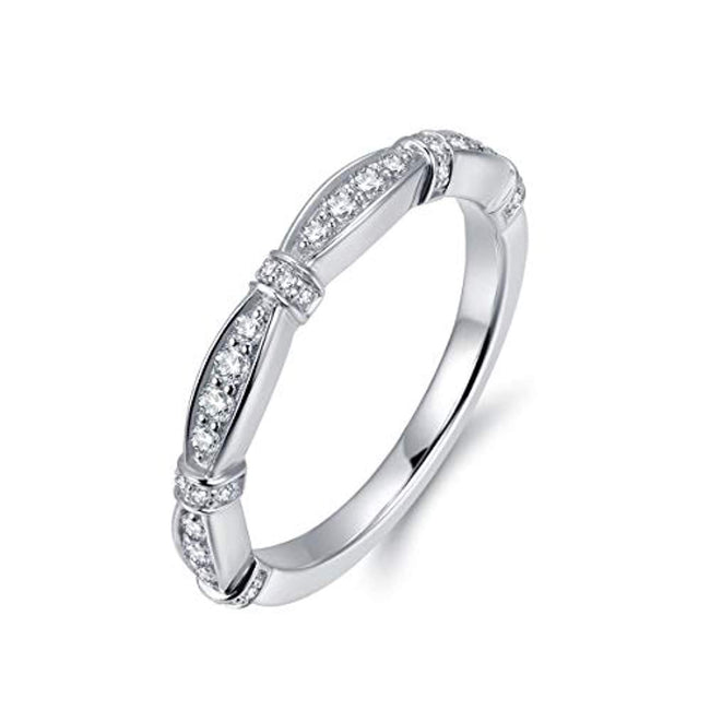 Marquise Design 2mm Micropave Simulated Diamond Cubic Zirconia CZ Wedding Band Eternity Rings for 25th Wedding Anniversary Women Girls, Rhodium Plated Sterling Silver
