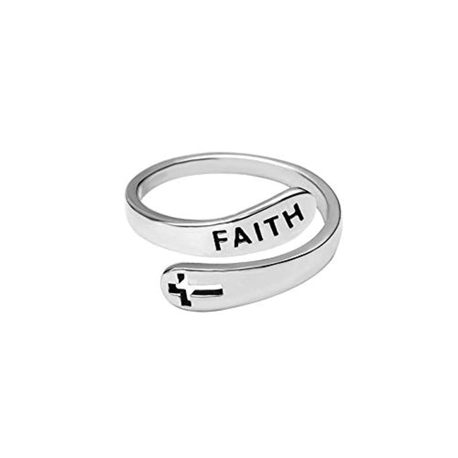 Faith Cross 925 Silver Open Statement Rings Adjustable Minimalist Eternity Wedding Band Fashion Ring for Women Girls Men