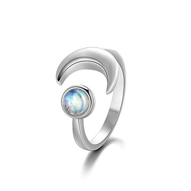 5mm White Gold Plated Sterling Silver Moonstone Ring for Women, Birthstone Jewelry Anniversary Adjustable Rings Size 6-8