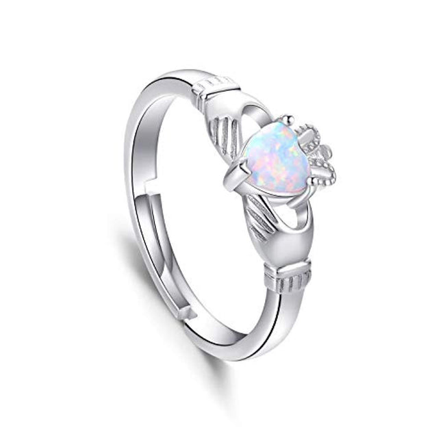 925 Sterling Silver Claddagh Heart Promise Ring, Lab Created White Opal Irish Claddagh Rings for Women