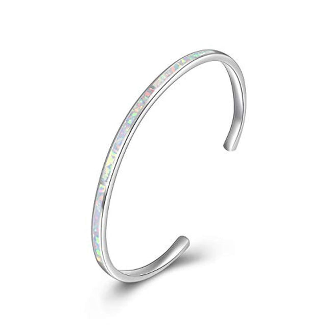 Sterling Silver Adjustable Cuff Created Opal Bangle Bracelet Christmas Jewelry Gifts for Women Men,Engraved 'You are my sunshine' and 'she believed she could so she did' on the back of the Bangle
