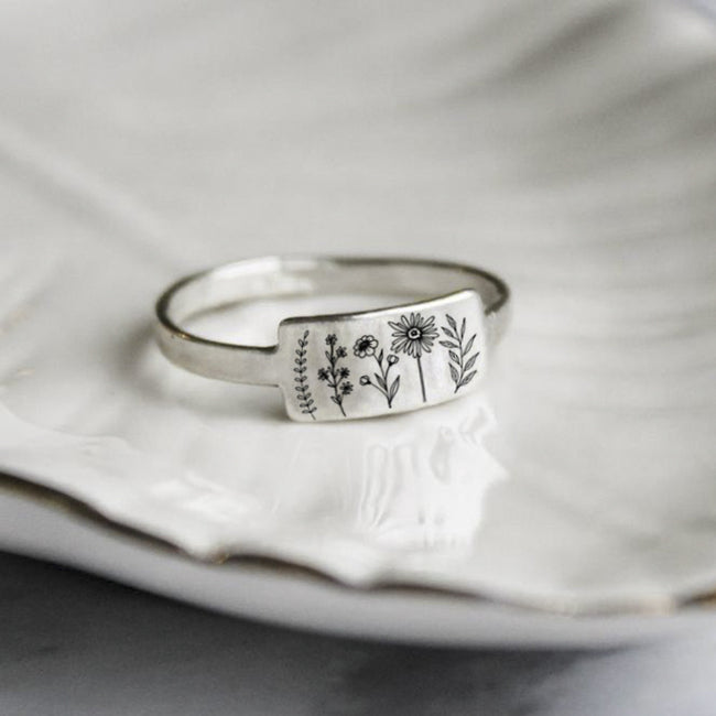 S925 Sterling Silver Wildflower Nature Ring