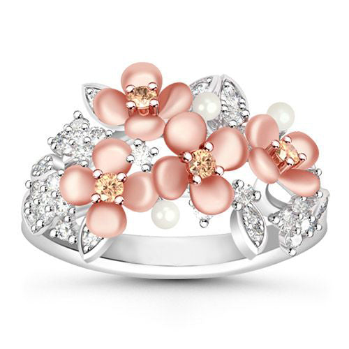 """My Love"" Rose Gold Plated Blooming Flowers and Sparkling White stones 925 Sterling Silver Ring"