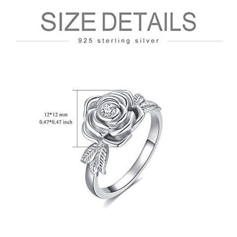 925 Sterling Silver Rose Flower Cremation Urn Ring Holds Loved Ones Ashes Cremation Keepsake Ring Jewelry with Swarovski Crystal