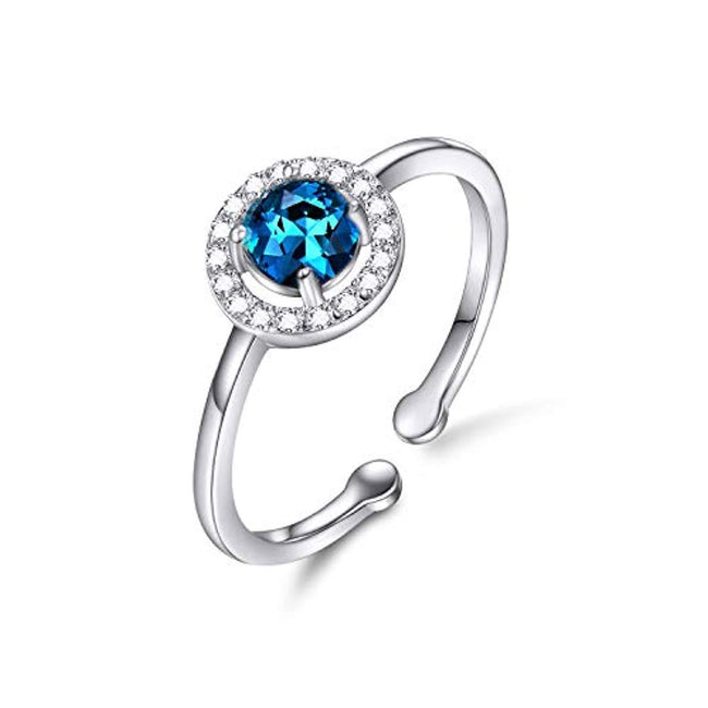 925 Sterling Silver Birthstone Rings Adjustable 6-8# Rings for Women Valentines Day Jewelry Gifts