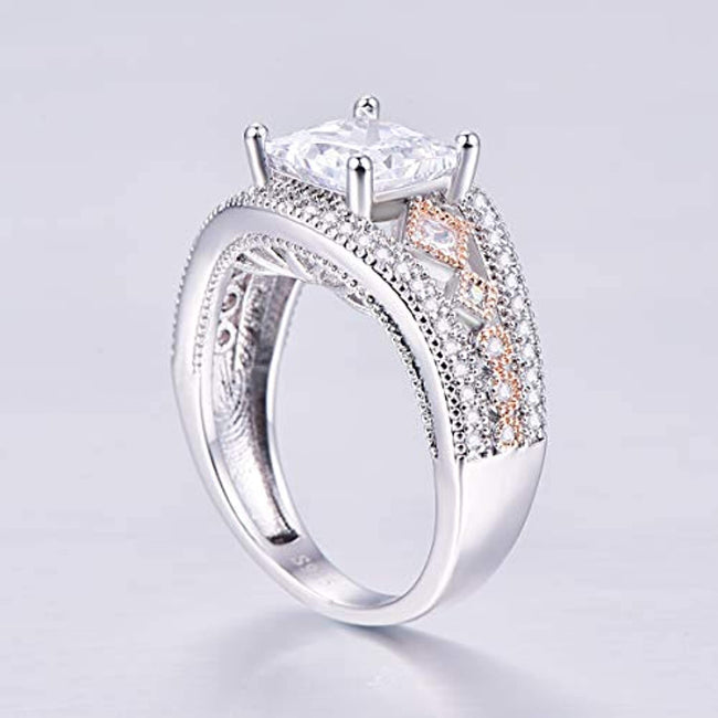 925 Sterling Silver Princess Cut CZ Wedding Ring Band for Women