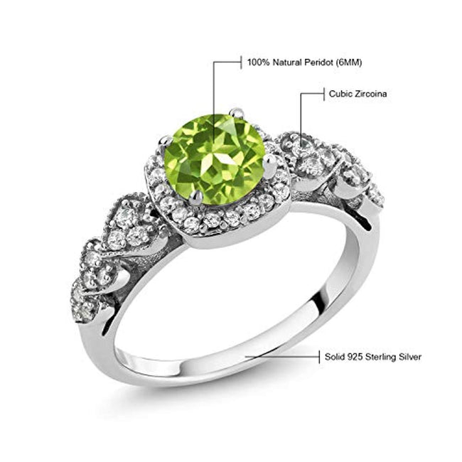 925 Sterling Silver Green Peridot Women's Ring for Anniversary(1.17 Ct Gemstone Birthstone Available 5,6,7,8,9)