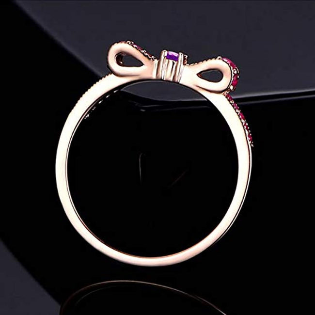 925 Sterling Silver Rings for Women Red Round Zircon Anniversary Wedding Band Engagement Ring