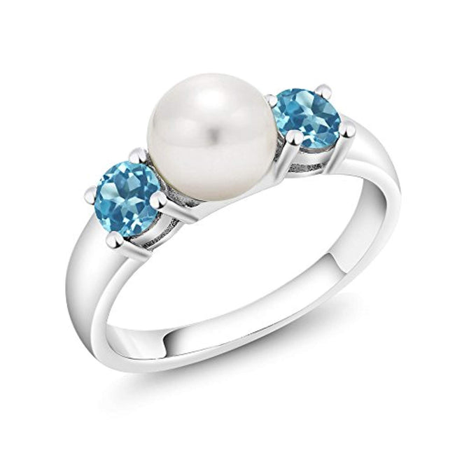 1.00 Ct Round Swiss Blue Topaz 925 Sterling Silver Freshwater Pearl Ring for 30th Wedding Anniversary