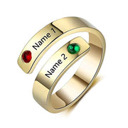 Personalized Free Engraving Name Twisted-Shape Adjustable Simulated Birthstone Ring for Women in Sterling Silver