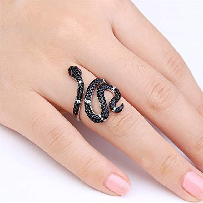 Snake Ring for Women Men Sterling Silver Life Power Black Crystal Rings with Cubic Zirconia Personality Jewelry Engagement Anniversary Promise Fashion Ring