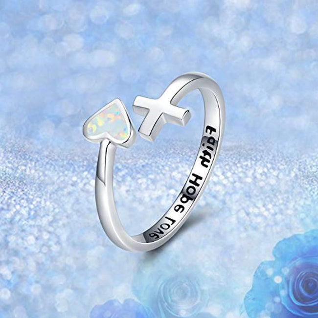 S925 Sterling Silver Love Heart Ring Engraved Faith Hope Love Blue/White Open Adjustable Opal Wrap Rings Inspirational Jewelry for Women