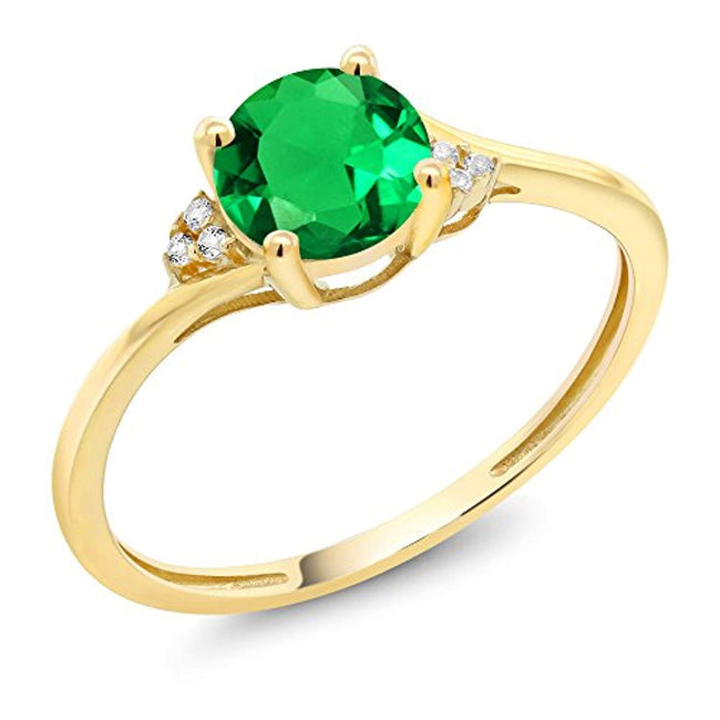 10K Yellow Gold Green Simulated Emerald and Diamond Accent Women Engagement Ring for 20th Wedding Anniversary0.82 Ctw (Available 5,6,7,8,9)
