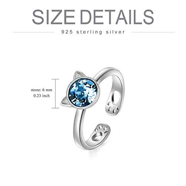 925 Sterling Silver Snake Ring Cute Cat Animal Wrap Open Band Ring with Swarovski Crystal for Women