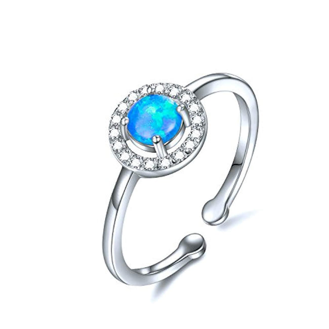Simulated Fire Opal Rings Sterling Silver, Promise Ring, Blue Opal Ring for Women, Size 4-6.5