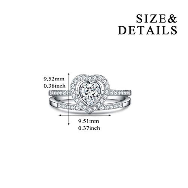 925 Sterling Silver with Swarovski Crystal Wedding Rings, Heart Shaped Rings, Adjsuatble Size 6-8