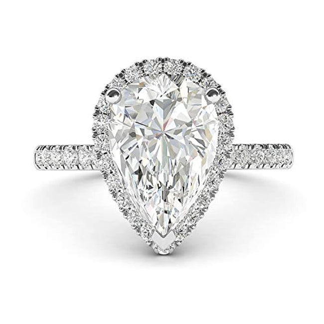 Pear-Shaped Zircon Halo Engagement Ring with Side Stones Promise Bridal Ring for 25th Wedding Anniversary