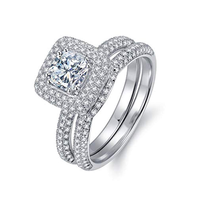 1ct Cushion Cut Simulated Diamond Cubic Zirconia CZ Hola Wedding Engagement Ring Sets, Rhodium Plated Sterling Silver for 25th Wedding Anniversary