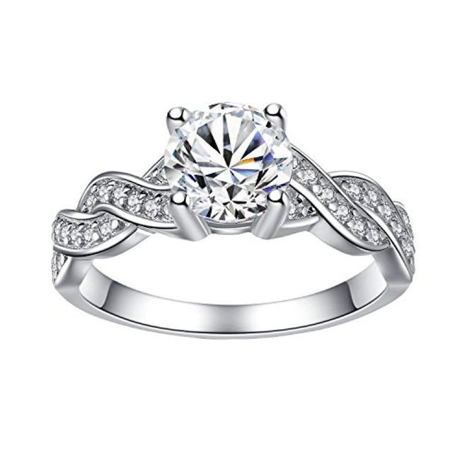 925 Solid Sterling Silver Matching Bridal Set Wedding Engagement Rings Clear Round Cubic Zirconia Eternity Ring for Women