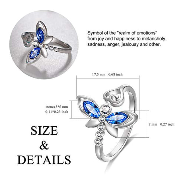 Sterling Silver Dragonfly Ring with Simulated Light Sapphire Swarovski Crystals, Adorable Insects in The Garden Series Adjustable Open Ring, Anniversary Birthday Dragonfly Jewelry Gifts for Women