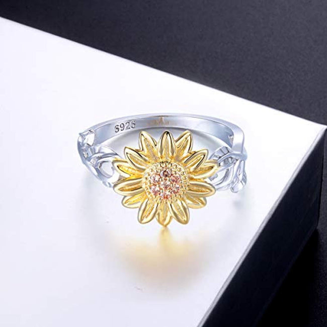 S925 Sterling Silver Cute Sunflower CZ Leaf Ring for Women Girls