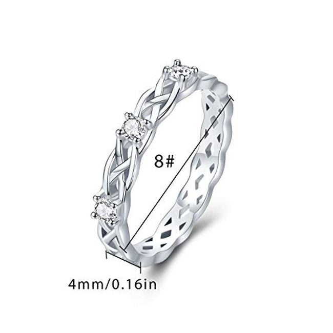 Celtic Knot Eternity Promise Ring 925 Sterling Silver Adjustable Celtic Knot Rings Good Luck Irish Jewelry for Women Men Anniversary