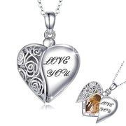 Locket Necklace That Holds Pictures 925 Sterling Silver Vintage Oxidized Butterfly Flower Photo Locket Heart Pendant for Women