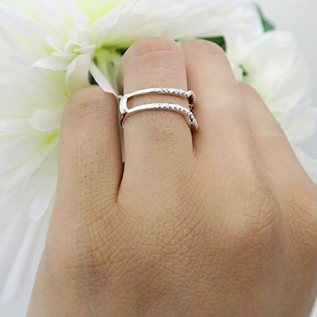Cubic Zirconia Wedding Band Enhancer Guard Ring from 1/4 Carat to 1 Carat White Cubic Zirconia CZ Ring in Sterling Silver Ring Guards