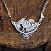 Mountains Within Sterling Silver & 14k Gold Mountain Pines Sun Landscape Necklace Boho Nature Pendant