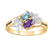 Couple's Oval Birthstone Dragonfly Bypass Ring (2 Stones and Names)