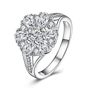 925 Sterling Sliver Cubic Zirconia Flower Ring Engagement Rings Wedding Rings for Women Girls