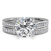 2.4ct Round Engagement Wedding Ring Set for Women 18K Gold Plated Sterling Silver Bridal Set Size 5/6/7/8/9/10/11
