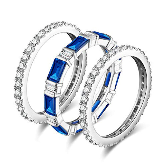 3PC 7ct Stackable Eternity Rings Wedding Rings Wedding Bands For Women Anniversary Ring Channel Bridal Sets 925 Sterling Silver Created Blue Spinel Cubic Zirconia Rings