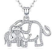 Elephant Pendant Necklace for Women 925 Sterling Silver Girls Jewelry with Cubic Zirconia