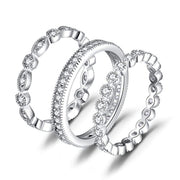 Wedding Bands Wedding Rings For Women Anniversary Eternity Bands 3 Stackable Rings CZ Engagement Bridal Milgrain Marquise Infinity 925 Sterling Silver Ring Sets Size 4-12