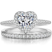 Heart Shaped Engagement Eternity Bridal Anniversary Promise Wedding Band Ring Set