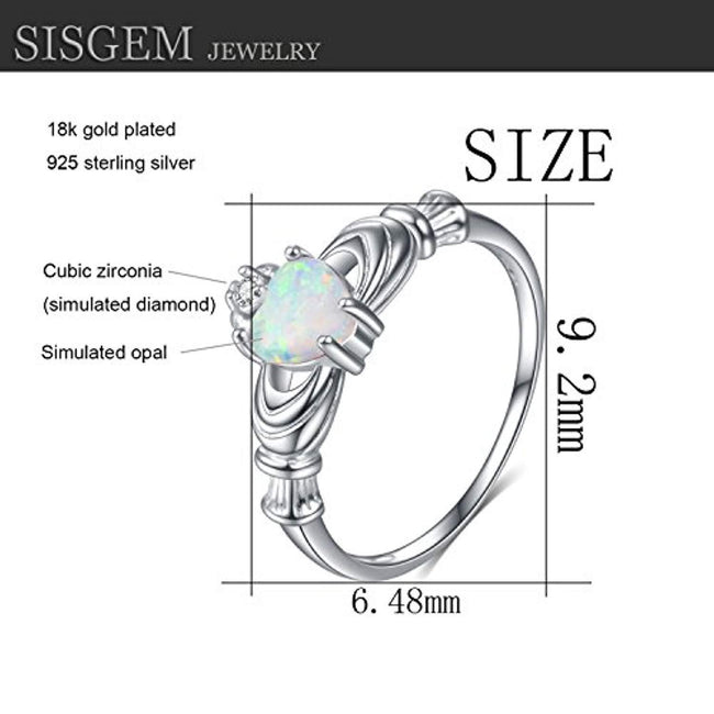 Sterling Silver Irish Claddagh Ring, Simulated Opal Promise Ring for Women Engagement