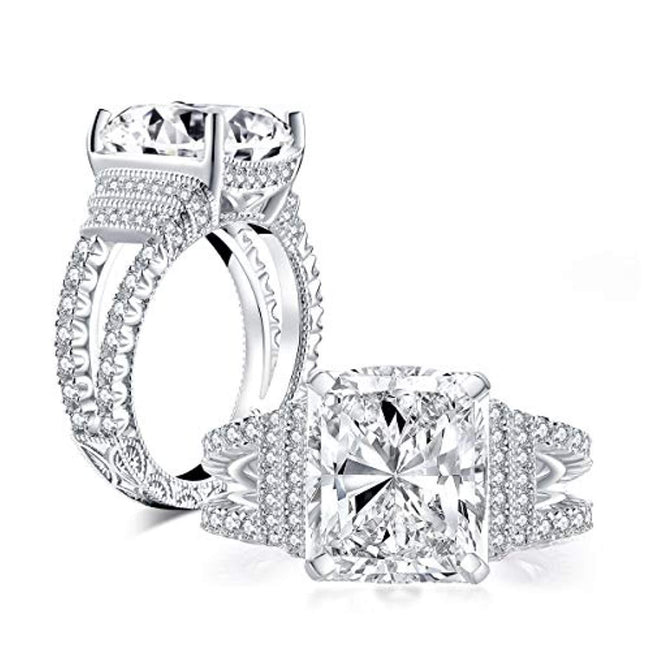 5 Carat Cushion Cut Cubic Zirconia CZ Vintage Promise Wedding Engagement Rings for Women Sterling Silver, Ring Sizes 5 to 8