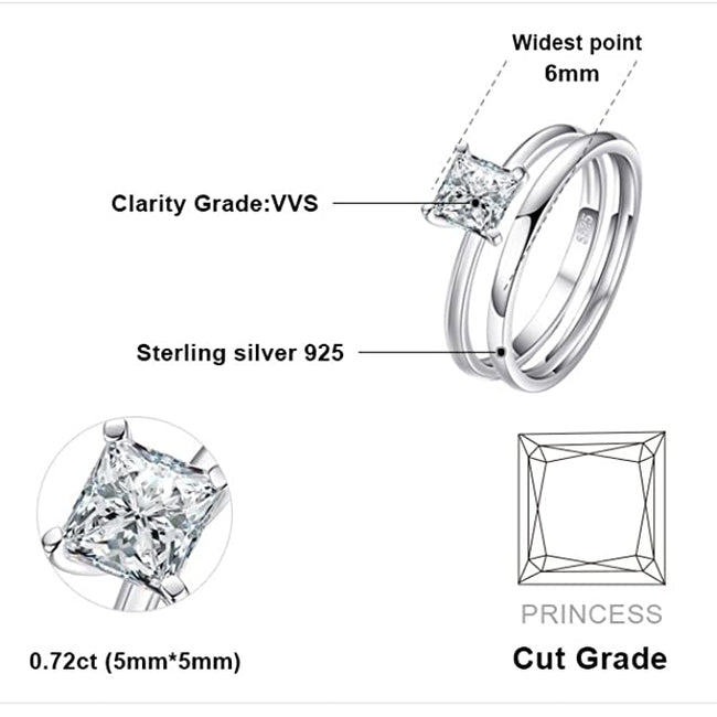 Wedding Rings Wedding Bands Solitaire Engagement Rings For Women Anniversary Promise Ring Bridal Sets Princess Cubic Zirconia 925 Sterling Silver Ring Sets