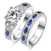 Engagement Ring Set 925 Sterling Silver Women's 3.5ct Round Cubic Zirconia Marquise Created Blue Sapphire