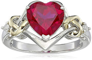 Sterling Silver and 14k Yellow Gold Diamond and Heart Shaped Created Ruby Ring for 40th Wedding Anniversary