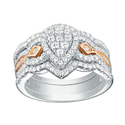 Pear Bridal Engagement Wedding Ring Set for Women Rose Gold Cz 925 Sterling Silver Size 5-10