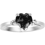 Cubic Zirconia Heart Promise Ring Sterling Silver (Color Options, Size 3-15)