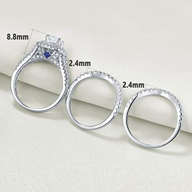 Wedding Rings for Women Engagement Set Blue Sapphire Sterling Silver White Cz 3Pcs Size 5-12